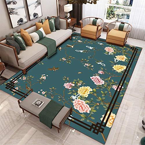 Alfombra de patio verde sala de estar alfombra floral patrón chino rectángulo decorar la habitación lavable alfombras antideslizantes 120 x 180 cm 3 pies 11.2 pulgadas x 5 pies 11.7 pulgadas