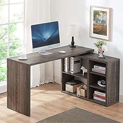 HSH L Shaped Computer Desk, Rustic Wood Corner Desk, Industrial Writing Workstation Table with Cabinet Drawer Storage for Home Office Study, Grey