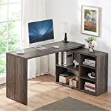 HSH L Shaped Computer Desk, Rustic Wood Corner Desk,...