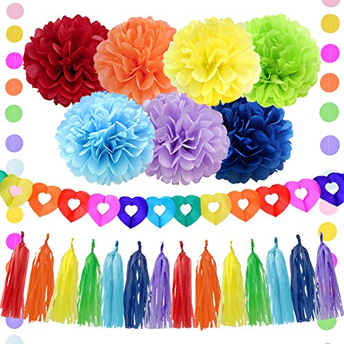 Kreatwow Pride Party Decorations Rainbow Party Decorations Supplies with Tissue Paper Pom Poms Paper Garland Banner Circle Garland for Rainbow Birthday Baby Shower Decorations