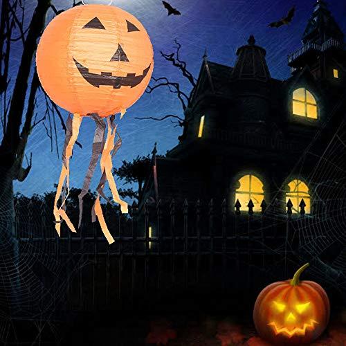 Halloween LED Lichter Halloween Papierlaternen Kürbis Smiley Laterne Party Dekor Hänge Halloween Deko Lichter weiß 40CM