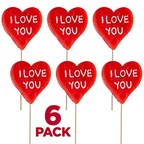 Large Heart Shape Lollipops 6 Pack of I Love You Pops, Great for Valentines Day Goody Bag Fillers or Party Favor