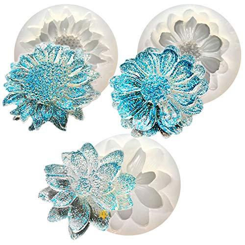 Moldes de silicona epoxi Resina Casting Collar Colgante Pendientes Joyería Artesanía (Flor)