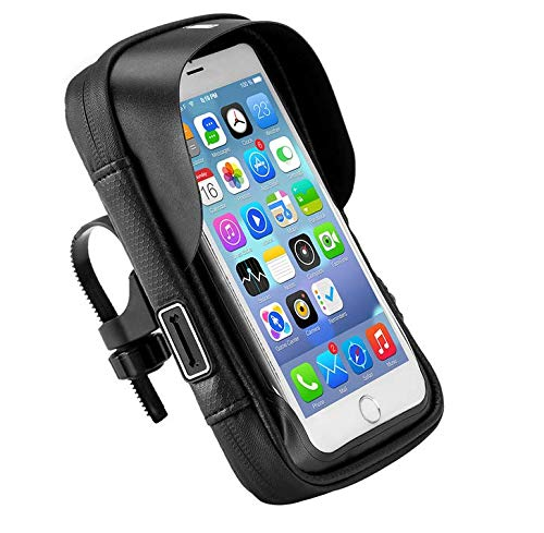 Waterproof Bicycle Bike Handlebar Cellphone Mount Holder Case Bag for iPhone 11 Pro Max, XS Max, Samsung Galaxy S20 FE 5G, S20, A51 A10S A30S A10 A20 A50 S10 Plus, S9+ Moto Stylus G7 G6 Z3 Play Z4