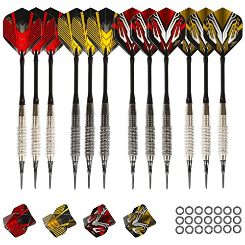 12 x Iron Barrels Plastic Soft Tip Darts with Storage Case Assorted Colors
