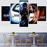 Frontones Decorativos - 5 Panel Impresiones sobre Lienzo Imprimir Pintura Arte De La Pared Imagen Modular Canvas Poster Decoración del Hogar Póster Anime Decor Sword Art Online 50/40/30X20CM No Frame