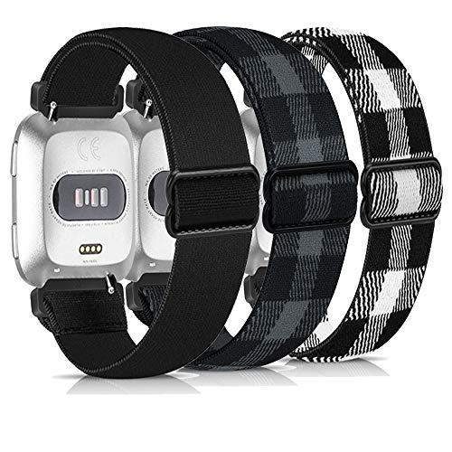 Zoholl Correas de reloj elásticas para Fitbit Versa, correas de repuesto de nailon compatibles con Fitbit Versa 2/Fitbit Versa Lite (23 mm, negro, gris y negro y rejilla blanca)