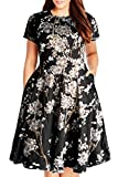 Nemidor Women's Round Neck Summer Casual Plus Size Fit and Flare Midi Dress with Pocket (Black Print, 20W)