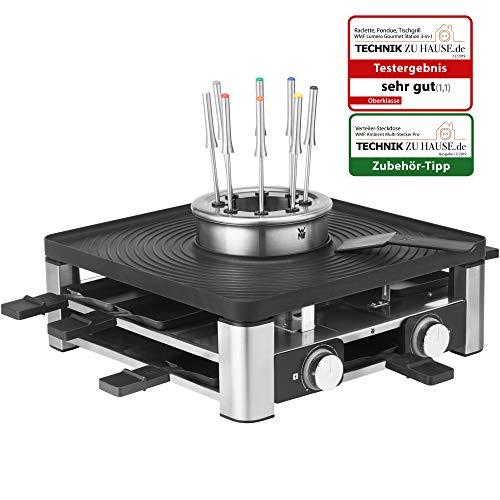 WMF Lumero 3in1 Design Gourmet Station, voor 8 personen, raclette, fondue, tafelgrill, elektrisch, temperatuurregeling, LED-licht, ruimtebesparend, roestvrij staal mat