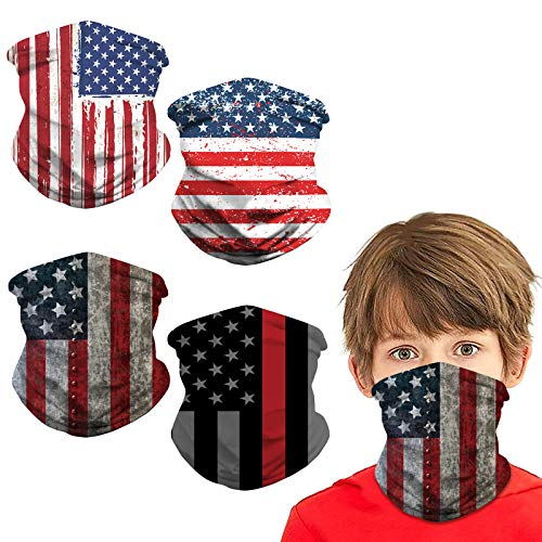 4 Pack Kids Sun UV Breathable Neck Gaiter Face Mask Protection Windproof Bandana Face Scarf Washable Reusable Headband Dust Block Balaclavas for Children