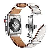 Dee Plus Butterfly Schnalle Echtes Leder Armband Uhrenarmband kompatibel Für Apple Watch 42mm/44mm...