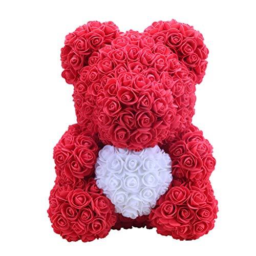 Amosfun 40 cm Rosa Oso Flor Rosa Decoración Artificial Regalo del dí
