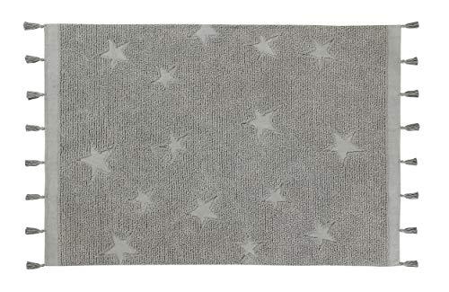 Lorena Canals - Alfombra Lavable Hippy Stars Grey - Gris - 97% algodón 3% Otras Fibras - 175x120 cm