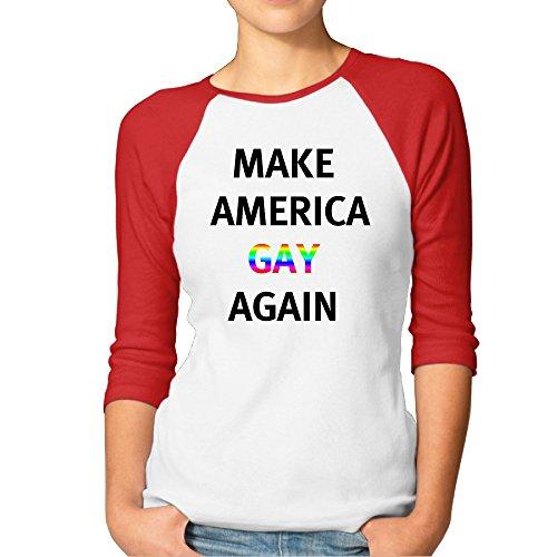 Hacer América Gay again2de verano para mujer de raglán camiseta