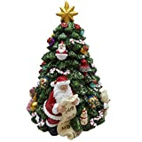 Lightahead Musical Revolving Christmas Tree with Santa Claus with Gift List Christmas Music Box in Polyresin