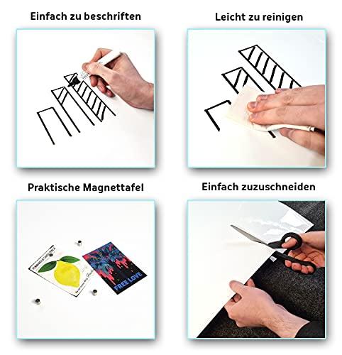 Queence Selbstklebende Magnetische Whiteboard Folie   Weißwandtafel   Whiteboard   Schreibtafel   Folie   Wandfolie   Multifunktionstafelfolie   Farbe: Weiß, Größe:100×200 cm - 4