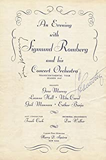 Sigmund Romberg - Program Signed Circa 1947 co-signed By: Gene Marvey