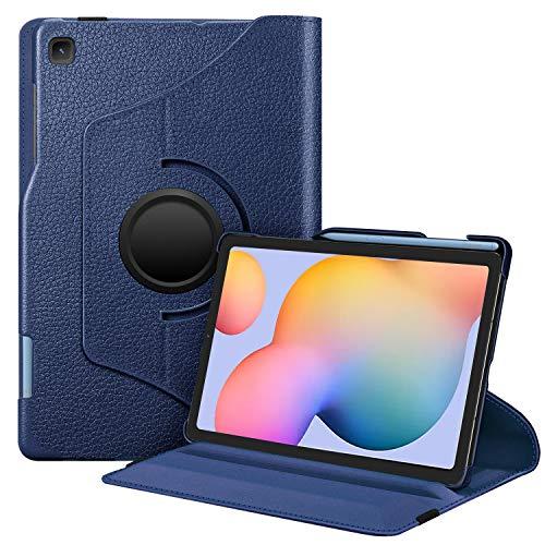 Fintie Funda Giratoria para Samsung Galaxy Tab S6 Lite de 10.4 con Portalápiz para S Pen - Rotación de 360 Grados Carcasa con Auto-Reposo/Activación para Modelo SM-P610/P615, Azul Oscuro