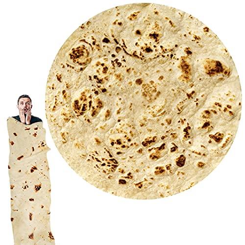 Burrito Tortilla Decke - Tortilla Kuscheldecke Runde Neuheit Food Creation Tagesdecke Neuheits-Decke Tortilla Throw für Erwachsene und Kinder, um ein riesiger menschlicher Burrito zu sein