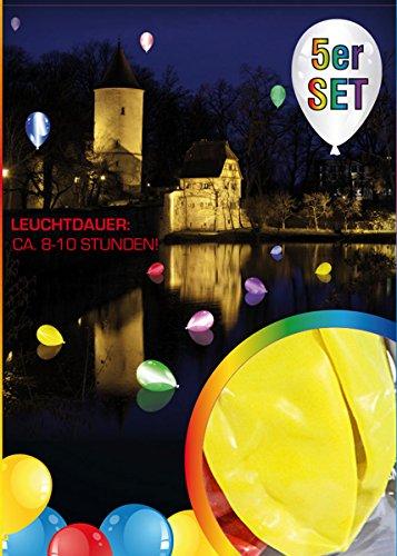 Rouge - 5 pièces . LED Red Balloons Balloominate . Idéal pour les fêtes et célébrations.