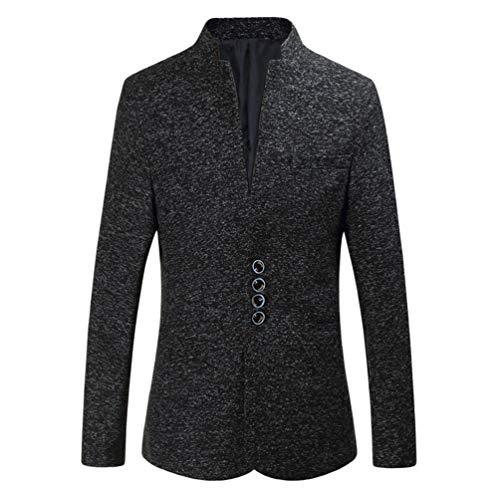 Zhiyuanan Herren Große Größe Casual Blazer Jacken Stehkragen Einreiher Slim Fit Suit Weich Elegant Business Männer Sakko Mantel Schwarz 6XL