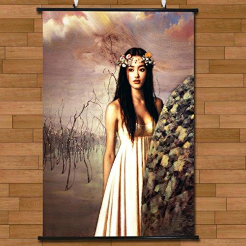 HUGUJH Pittura su Tessuto di Art Deco di Camera da Letto/Corpo Pittura Asiatica Vento/Scroll di Nudo Appeso Flirty Tentazione Pittura Muro Adesivi/60 * 90 cm