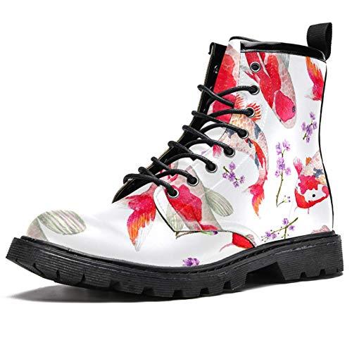 Botas de invierno con estampado de flores rojas para mujeres y niñas, botas de nieve cálidas con parte superior alta de tobillo con cordones para la escuela, color Multicolor, talla 40 EU
