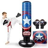 AstarX Saco de boxeo para niños – Capitán América bolsa de boxeo para rebote inmediato para practicar karate, taekwondo, MMA y para aliviar la energía Pent Up en niños y adultos/alto 5' 3'