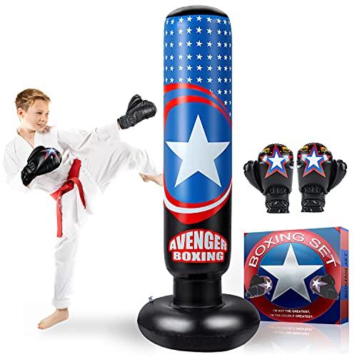 AstarX Sac de frappe Captain America pour enfant - Sac de boxe pour rebond immédiat pour pratiquer le karaté, le taekwondo, le MMA et soulager l'énergie pendue chez les enfants et les adultes
