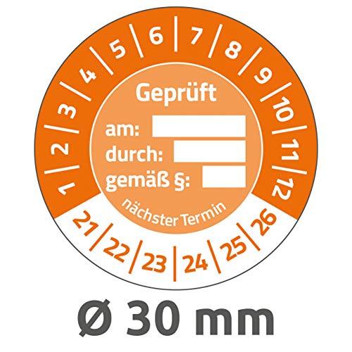 AVERY Zweckform 80 stuks testplaketten 2021-2026 getest op/door/volgens § (resistent, zelfklevend, Ø 30 mm, teststickers, beschrijfbaar zegel van vinyl plakfolie) 6960-2021 oranje