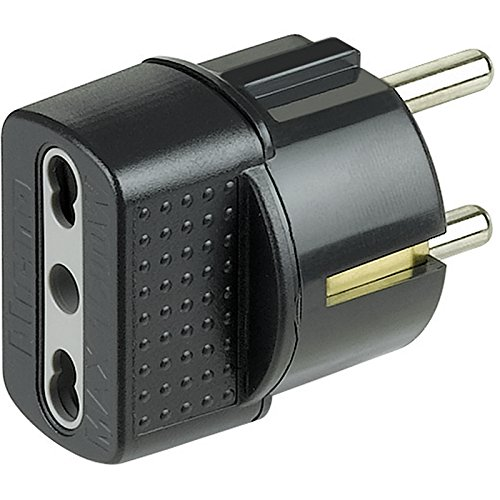 Bticino Steckdosen-Adapter mit deutschem Stecker und Bypass-Steckdose, S3625G 3500 wattsW, 250 voltsV
