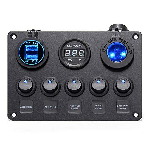 Wisamic Dual USB Auto Ladegerät 4.2A + 12V Steckdose + LED Voltmeter + 5 Kippschalter mit On/Off Schalter für Auto Boot LKW