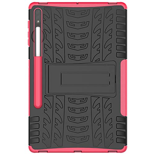 Sunrive Case For Samsung Galaxy Tab S7 Plus 12.4 Inch, Dual Layer [Drop Protection] Armor Shockproof Tough Rugged Back Protector Hybrid Impact Skin Cover Kickstand Feature(Rose red)