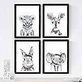 Nacnic Set de 4 láminas de Animales Infantiles Gafas Y Flores,en tamaño A4. Sin Marco...