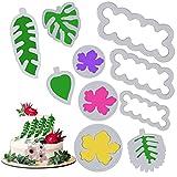 10Pcs Molde Galletas Cortadores de Repostería Molde de Flores y Hojas Tropicales Plásticos Cortadores de Galletas Pastelería Cookie para Niños Niñas