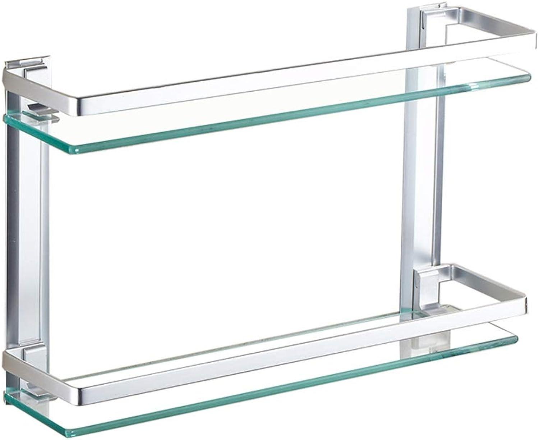 QIQI-JZX 2 Tier Bathroom Glass Shelf Rectangular Aluminum Basket Organizer Wall Mounted, Silver (Size   50CM)
