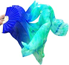 Nimiman Hand Made Belly Dance Dancing Silk Bamboo Long Fans Veils Tie-Dyed 5 Colors