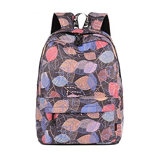 Wdl Hoja Colorida Doodle Colocación Impreso Mochila Escolar para Niñas Diseño De Lienzo Mujer Mochila Casual Viajes De Viaje Mochila A-11.8in*5.3in*16.5in
