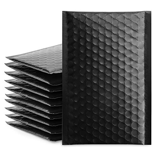 Fu Global #000 4x8 Inch Black Poly Bubble Mailer Self Seal Padded Envelopes Pack of 50