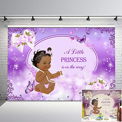 Mehofoto Purple Butterfly Baby Shower Backdrop Lavender Flower Giltter Diamonds Photo Background 7x5ft Ethnic Little Princess Photography Backdrops for Baby Shower Decorations