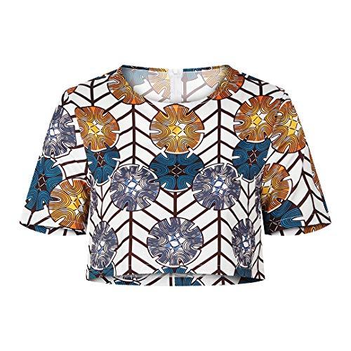 Jascaela Women's Sexy Boho Style African Floral Print Suit Off Shoulder Crop Top Vintage Short Blouse Yellow (L)