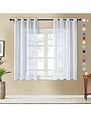Topfinel Lot de 2 Rideaux Voilage Blanc 140x160 cm à Oeillets en Lin Imitation Voilage Fenêtre Transparent pour Salon Voilage Petite Largeur Décor Cuisine Chambre Enfant