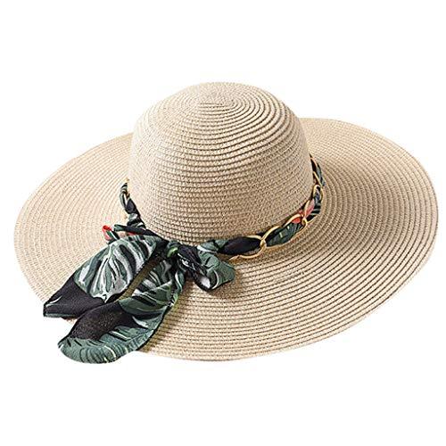 Tyoby Hüte Mützen Caps Damen-Hauben-großer Strohhut-Sommer-Ausflug-Sonnenschutz-Sonnenhut Sun-Strand-Hut im Freien(E)