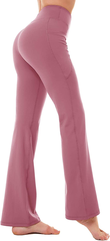 KMISUN Bootcut Yoga Pants for Women Pockets High Waisted Wide Flare Leggings Work Bootleg Dress Pants