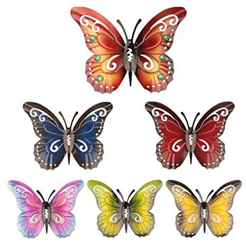 YiYa 6 PCS Decorazione da Parete Farfalla in Metallo Farfalla da Parete per Recinzione da Giardino Interno o Esterno, 3 Dimensioni