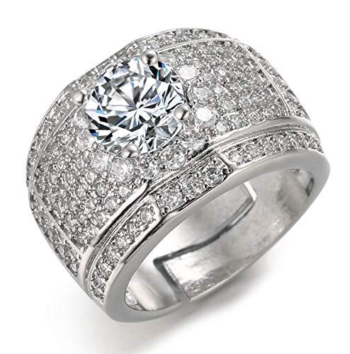 Halukakah Anillo de Oro y Diamantes Iced out,Hombres en Oro Blanco Anillo Tamaño Ajustable con Gratis Caja de Regalo