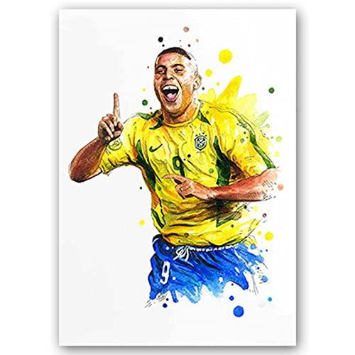 BJEWJUJTYJ carteles e impresiones de estrellas de fútbol figuras lienzo pintura acuarela arte de pared para sala de estar decoración del hogar 40 * 60 cm 1