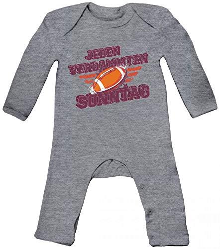 American Football Gruppen Fan Baby Strampler Langarm Schlafanzug Jungen Mädchen Jeden verdammten Sonntag, Größe: 12-18 Monate,Heather Grey Melange