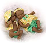 Mini 11'Black Couple Alive Reborn Baby Dolls African American Twins Lovely