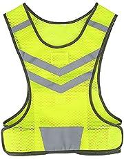 Chaleco de seguridad, chaleco reflectante ajustable de poliéster de alta visibilidad para carreras, ciclismo y trabajo